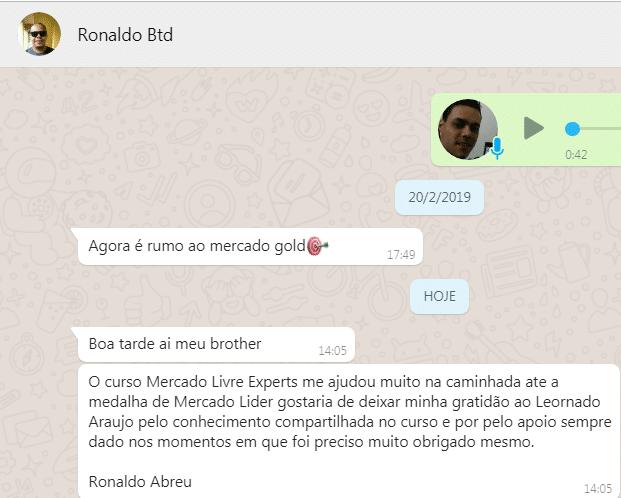 depoimento ronaldo leonardo araujo mercado livre experts